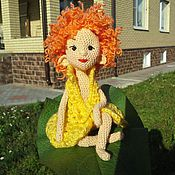 Девочка эльф Эля - вязаная куколка, игрушка куколка, кукла