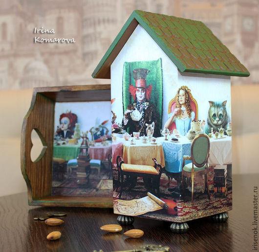 Кухня ручной работы. Ярмарка Мастеров - ручная работа. Купить Безумное чаепитие, подносик и чайный домик. Handmade. Зеленый, подносик