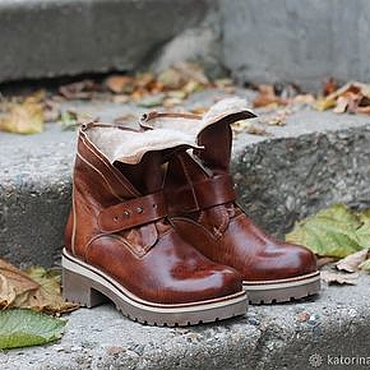 Footwear handmade. Livemaster - original item Boots winter moccasin leather with uneven edge brick. Handmade.