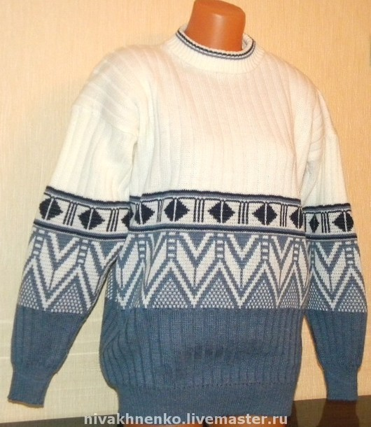 For Men handmade. Livemaster - handmade. Buy Knitted sweater with ornament.Sweater for men, jacquard, ornament