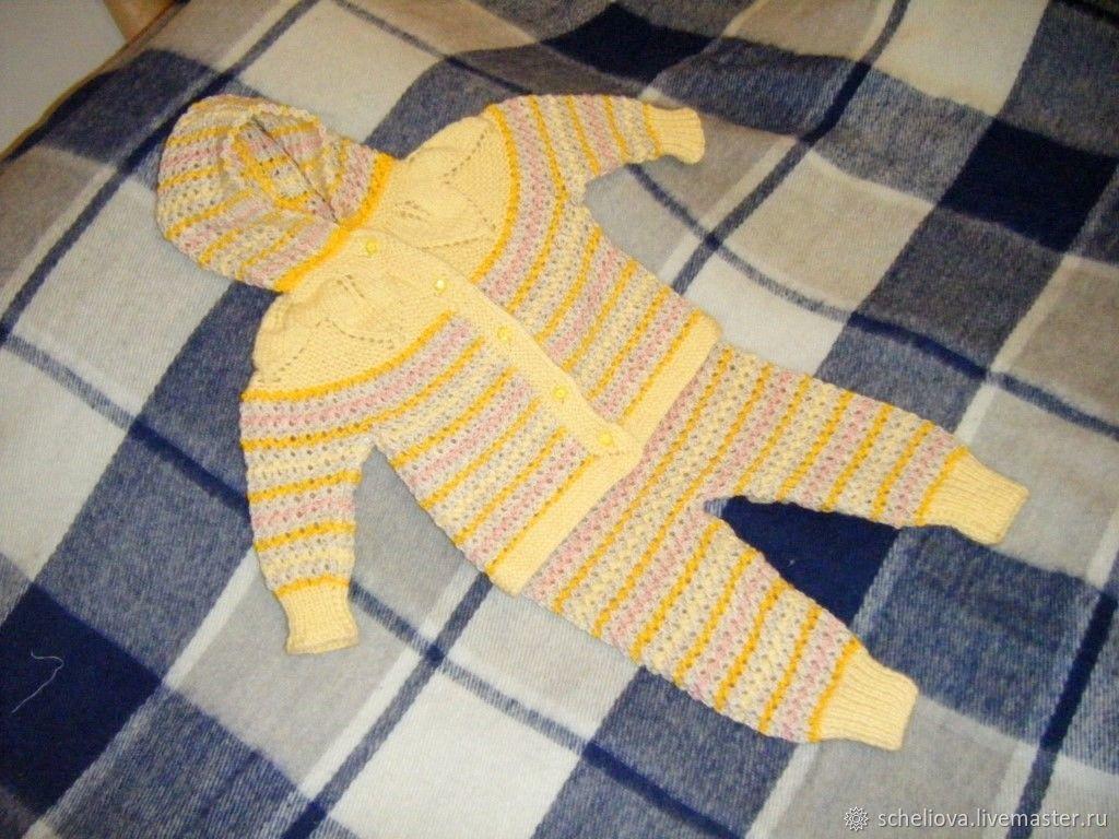 Костюм для девочки (9-12 мес), вязаный костюм с капюшоном для ребенка, Комплекты одежды, Москва, Фото №1
