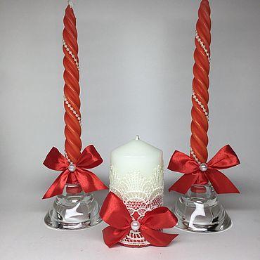 Свадебный салон ручной работы. Ярмарка Мастеров - ручная работа Свадебные свечи «Алая роза». Handmade.