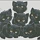 """Вышивка ручной работы. Ярмарка Мастеров - ручная работа. Купить Авторская схема вышивки крестом """"Черные котята"""". Handmade."""