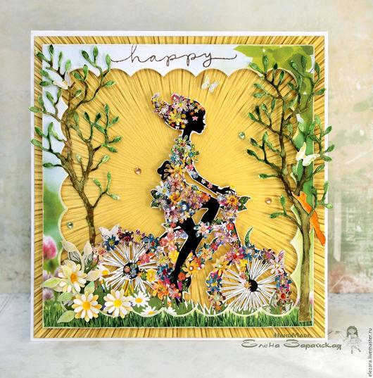 Открытки на все случаи жизни ручной работы. Ярмарка Мастеров - ручная работа. Купить «Будь веселой, будь счастливой!» - открытка ручной работы. Handmade.