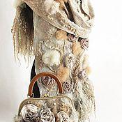 """Аксессуары ручной работы. Ярмарка Мастеров - ручная работа Комплект сумочка и палантин """"Emma"""" валяный (светло-серый). Handmade."""