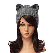 Аксессуары handmade. Livemaster - original item Hat with Cat ears, rubber band. Realistic lugs, ladies knitted. Handmade.
