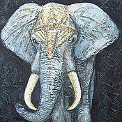 """Картины и панно ручной работы. Ярмарка Мастеров - ручная работа """" Белый слон"""" рельефное панно. Handmade."""