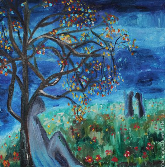 Пейзаж ручной работы. Ярмарка Мастеров - ручная работа. Купить Ангел отдыхает под дождем. Handmade. Разноцветный, пейзаж с водой
