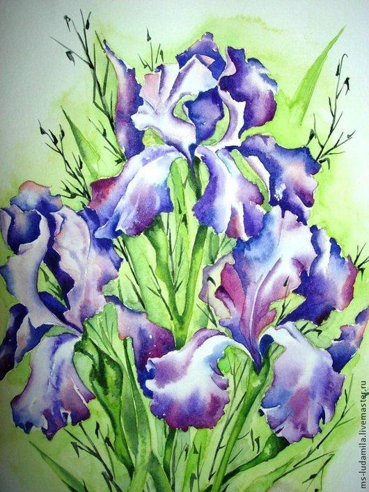 """Картины цветов ручной работы. Ярмарка Мастеров - ручная работа. Купить Картина акварель """"Ирисы"""". Handmade. Фиолетовый, картина с цветами"""