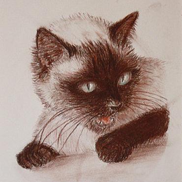 """Картины и панно ручной работы. Ярмарка Мастеров - ручная работа Портрет на заказ, """"Моя кошка  Фурыся"""", портрет животного по фото. Handmade."""