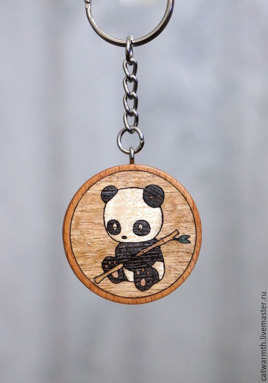 """Брелоки ручной работы. Ярмарка Мастеров - ручная работа. Купить Брелок """"Панда"""". Handmade. Панда, инкрустация, украшение, аксессуар, бук"""