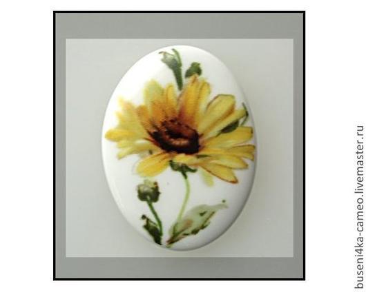 Для украшений ручной работы. Ярмарка Мастеров - ручная работа. Купить Кабошон Желтый цветок 30х40мм, фарфор. Handmade. Камея