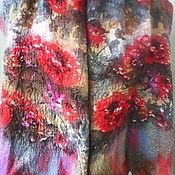 """Аксессуары ручной работы. Ярмарка Мастеров - ручная работа Палантин валяный  на  шифоне Красные """"пионы"""" есть в наличии. Handmade."""