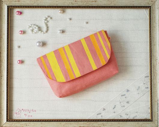 Женские сумки ручной работы. Ярмарка Мастеров - ручная работа. Купить Льняной розовый клатч с полосками. Handmade. Кремовый, лососевый