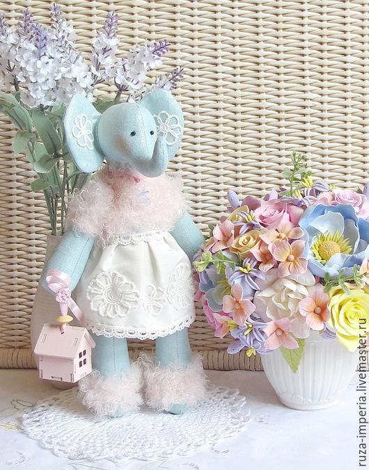 Куклы Тильды ручной работы. Ярмарка Мастеров - ручная работа. Купить Тильда Слоник в детскую комнату. Handmade. Голубой, новорожденному