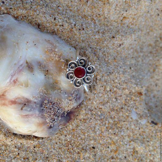 """Кольца ручной работы. Ярмарка Мастеров - ручная работа. Купить Кольцо с рубином """"Цветочное"""". Handmade. Бордовый, колечко, кольцо в подарок"""