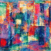 Картины ручной работы. Ярмарка Мастеров - ручная работа Абстрактная картина 80х100 Мегаполис. Handmade.