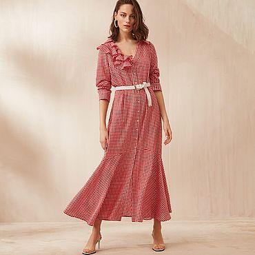 Одежда ручной работы. Ярмарка Мастеров - ручная работа Платье в клеточку с воланом. Handmade.