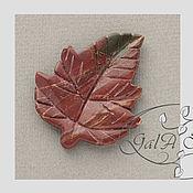 Материалы для творчества ручной работы. Ярмарка Мастеров - ручная работа Яшма натуральная красная подвеска кулон Лист резной 420. Handmade.