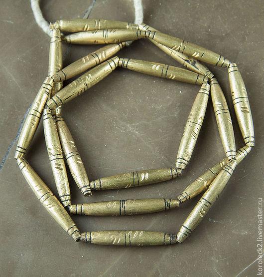 Для украшений ручной работы. Ярмарка Мастеров - ручная работа. Купить Африканские латунные веретонообразные бусины. Handmade. Золотой, латунь