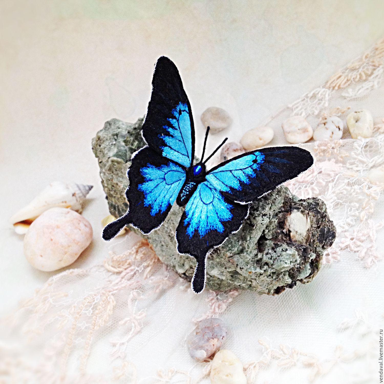 Брошь бабочка вышивка 53