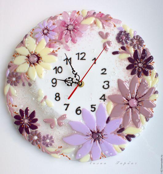 Clocks for Home handmade. Livemaster - handmade. Buy watch glass, fusing my angelochek.White, wall clock