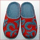 """Обувь ручной работы. Ярмарка Мастеров - ручная работа. Купить Тапочки """" Серые бусинки"""". Handmade. Ярко-красный"""