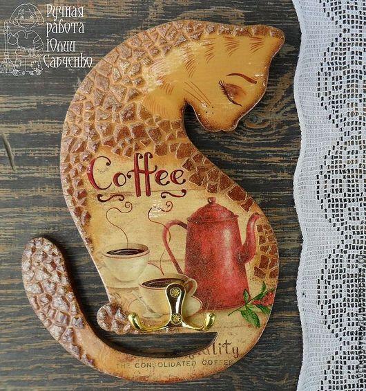 Кухня ручной работы. Ярмарка Мастеров - ручная работа. Купить Кошка кофейная. Вешалка .. Handmade. Кошка, кофейный сувенир