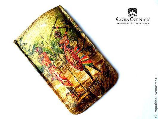 Для телефонов ручной работы. Ярмарка Мастеров - ручная работа. Купить Чехол для телефона из натуральной кожи арт.04. Handmade.
