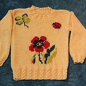 Работы для детей, ручной работы. Ярмарка Мастеров - ручная работа вязанный свитер с рисунком. Handmade.