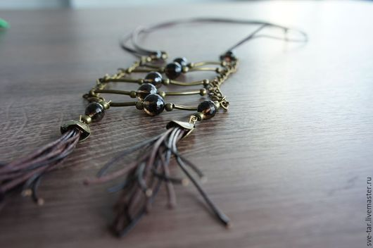 Колье, бусы ручной работы. Ярмарка Мастеров - ручная работа. Купить Бохо ожерелье из Раухтопаза. Handmade. Коричневый, ожерелье, кисти