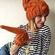 Шарфы и шарфики ручной работы. Снуд трансформирующийся в шапо морковного цвета на подкладе в полоску. free Tree. Ярмарка Мастеров.