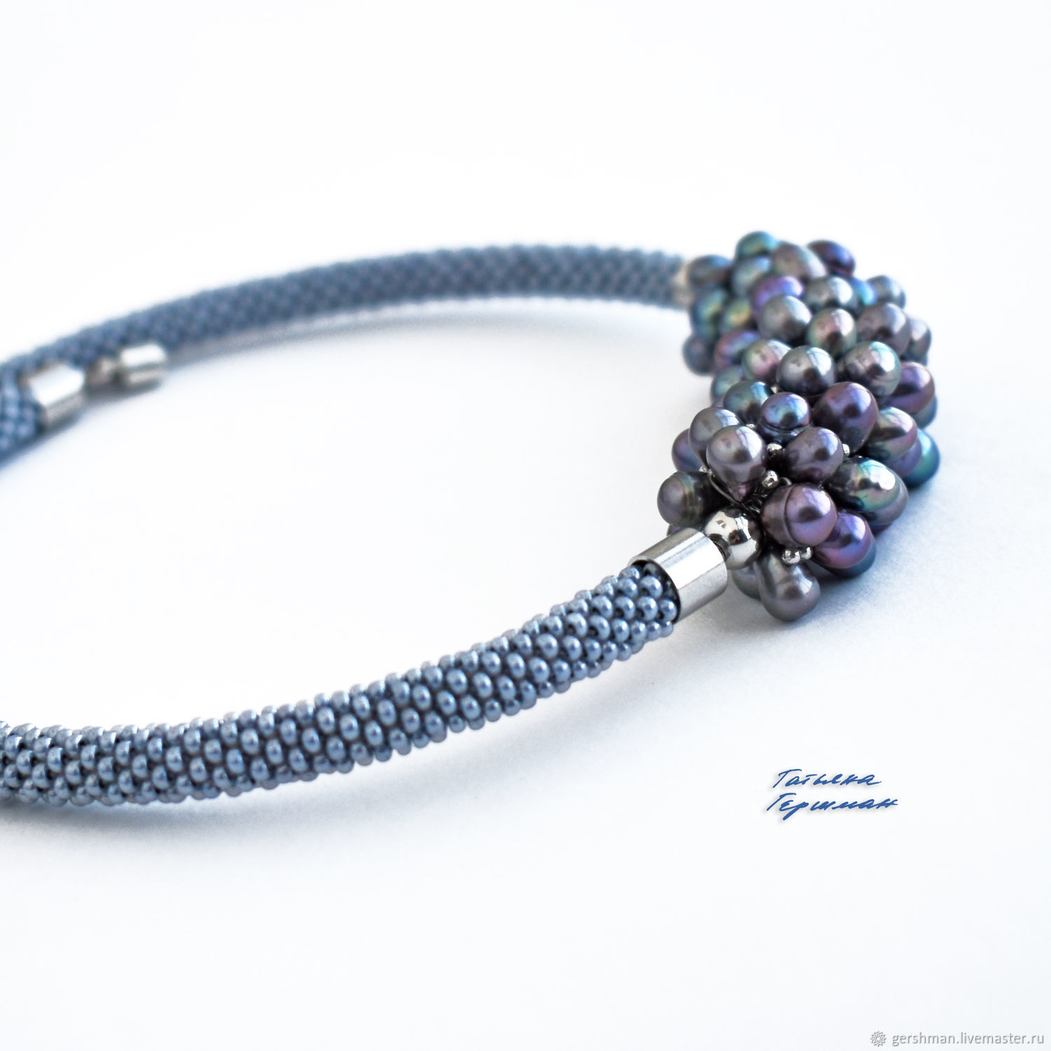 Pearl necklace made of natural river pearls and beads grey, Necklace, Tomsk,  Фото №1