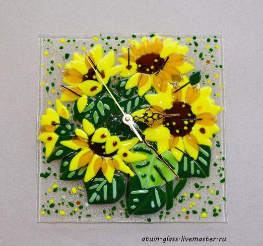 """Часы для дома ручной работы. Ярмарка Мастеров - ручная работа. Купить Часы из стекла, фьюзинг """"Подсолнухи"""". Handmade. Комбинированный, желтый"""