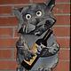 Элементы интерьера ручной работы. Ярмарка Мастеров - ручная работа. Купить Декоративный кот настенный. Handmade. Скульптура из дерева, бежевый