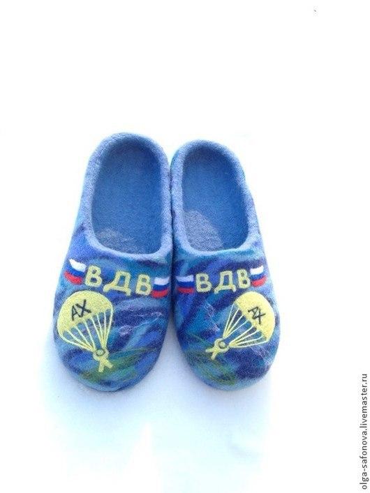 """Обувь ручной работы. Ярмарка Мастеров - ручная работа. Купить Домашние тапочки мужские """"ВДВ"""". Handmade. Голубой, вдв"""