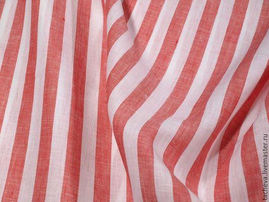 Шитье ручной работы. Ярмарка Мастеров - ручная работа. Купить Лен блузочный в полоску. Handmade. Ярко-красный, блузочные ткани