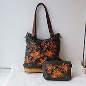 handmade. Livemaster - original item Leather bag with applique and painted to order for Tatiana.. Handmade.