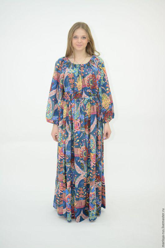 """Платья ручной работы. Ярмарка Мастеров - ручная работа. Купить Платье """"Крестьянка"""" синий. Handmade. Синий, цветочное платье"""