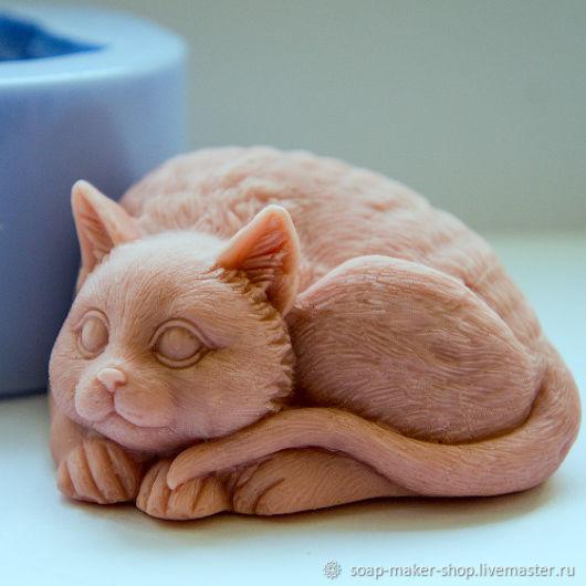 Формы для мыла ручной работы. Ярмарка Мастеров - ручная работа. Купить Силиконовая форма для мыла «Кот 2 3D». Handmade.