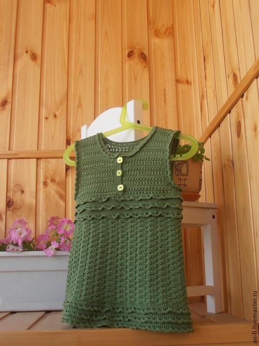 """Одежда для девочек, ручной работы. Ярмарка Мастеров - ручная работа. Купить Платье-туника """"В ясли"""". Handmade. Оливковый"""