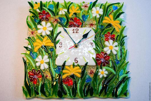"""Часы для дома ручной работы. Ярмарка Мастеров - ручная работа. Купить часы  """"Лето"""" фьюзинг, стекло. Handmade. Стекло, лето"""