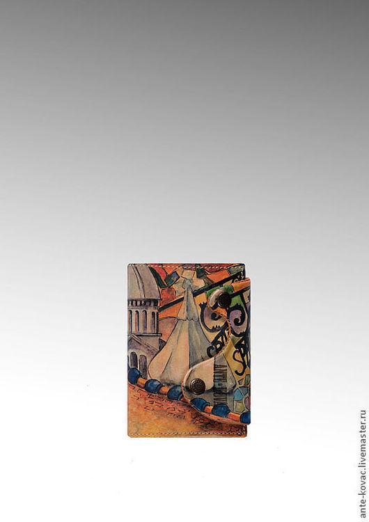 """Футляры, очечники ручной работы. Ярмарка Мастеров - ручная работа. Купить Обложка для документов Voyage """"Spain"""". Handmade. Бежевый"""