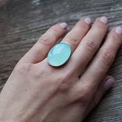 Серебряное кольцо с халцедоном - 25х18 мм