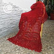 """Аксессуары ручной работы. Ярмарка Мастеров - ручная работа Палантин """"Мария"""" вязаный ажурный красный, бордовый, альпака. Handmade."""