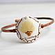 Браслеты ручной работы. Ярмарка Мастеров - ручная работа. Купить Медный браслет  в романтичном винтажном дизайне с живым цветком. Handmade.