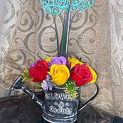 Элементы интерьера ручной работы. Ярмарка Мастеров - ручная работа Букет в лейке 13 роз. Handmade.