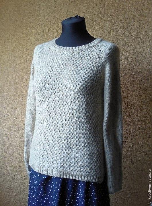 Кофты и свитера ручной работы. Ярмарка Мастеров - ручная работа. Купить Твидовый свитер. Handmade. Бежевый, свитер вязаный спицами