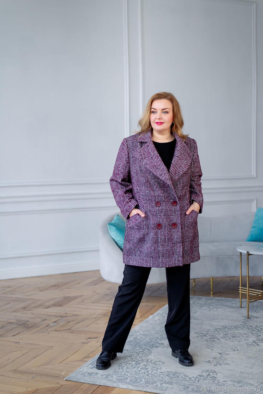 Шерстяное двубортное пальто в клетку размер 60-64 – купить на Ярмарке Мастеров – NR98URU | Пальто, Новосибирск