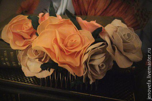 """Заколки ручной работы. Ярмарка Мастеров - ручная работа. Купить Гребень """"Чайная роза"""". Handmade. Комбинированный, пластичная замша, гребень"""